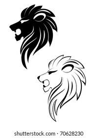Isolated lion head as a symbol or sign - also as emblem. Jpeg version also available