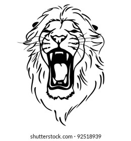 Isolated lion head as a symbol, sign, emblem - vector