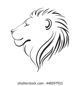 Isolated lions head, vector illustration, linear art. Lion's profile.