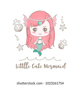"""Isolated a little cute mermaid decorated with shell and starfish on sea surface and text """"little Cute Mermaid""""."""