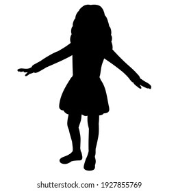 isolated, little girl black silhouette