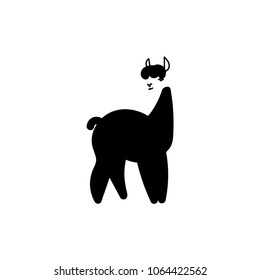Isolated llama. Black and White graphic. Doodle. Hand drawn illustration. Cartoon character. Vector.