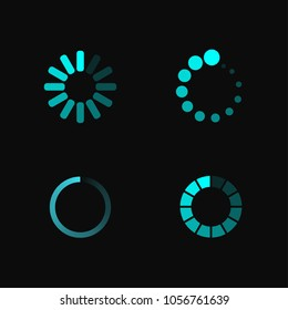 Isolated loading icon set on black background. Preloaders and bright blue round progress loading bars template. Vector illustration.