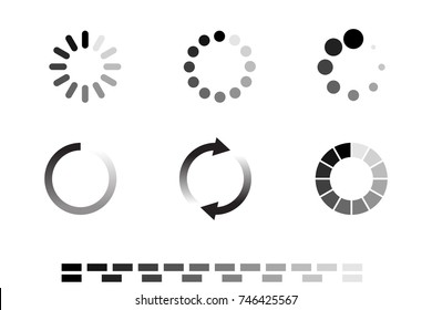 Isolated loading icon set on black background, vector illustration.