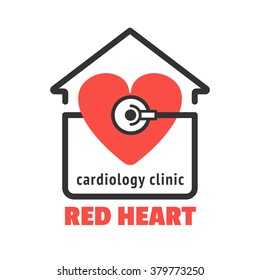 Isolated logo with red heart and stethoscope for cardiology clinic, cardiac care center. Red heart with stethoscope vector icon for your business. Cardiology icon. Modern clinic logo design