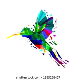 Isolated of Low poly colorful Hummingbird on white back ground,animal geometric,party birds concept,vector.
