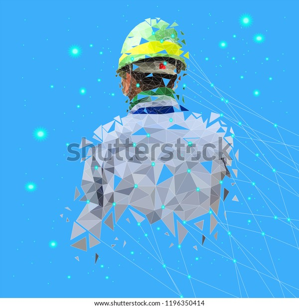 Isolated Low Poly Safety Engineer Point Stock Vector