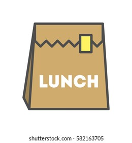 Isolated lunch icon on white background. School lunch bag with sticker.
