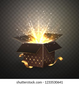 Isolated luxury brown single gift box with bright rays 3d vector illustration on transparent background