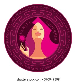 Isolated magenta stamp deadly sin - vanity