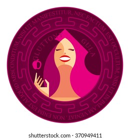 Isolated magenta stamp deadly sin - gluttony