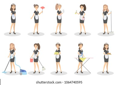 Isolated maids set. Women with cleaning equipment.