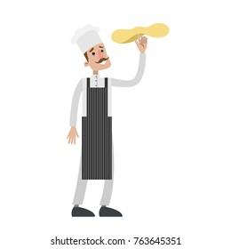 Isolated male chef tossing pizza dough on white background.
