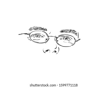 Isolated man eyes in eyeglasses, Hand drawn vector sketch