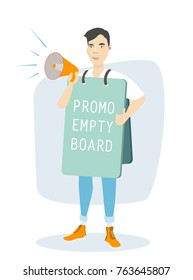 Isolated man with promotion board and megaphone on white background.