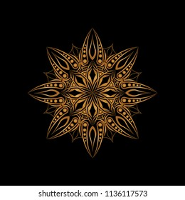 Isolated mandala graphic vector illustration. Design abstract gold on black background. Design print for embroidery, pattern, textile, brooch, symbol, icon, logo. Set 20
