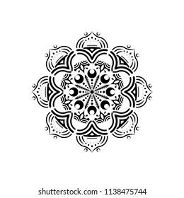 Isolated mandala graphic vector. Polar design black on white background. Design print for pattern, wallpaper, symbol, embroidery, textile. Set 2