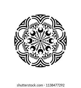 Isolated mandala graphic vector. Polar design black on white background. Design print for pattern, wallpaper, symbol, embroidery, textile. Set 5