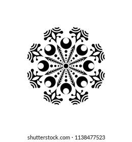 Isolated mandala graphic vector. Polar design black on white background. Design print for pattern, wallpaper, symbol, embroidery, textile. Set 6