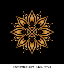 Isolated Mandala vector illustration. Design lotus gradient gold on black on white background. Design print for wallpaper, texture, symbol, brooch, embroidery. Set 19