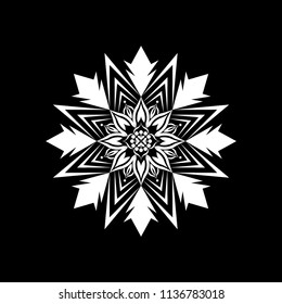 Isolated Mandala vector illustration. Design lotus white on black background. Design print for wallpaper, texture, symbol, brooch, embroidery. Set 20