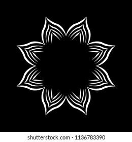 Isolated Mandala vector illustration. Design lotus white on black background. Design print for wallpaper, texture, symbol, brooch, embroidery. Set 21