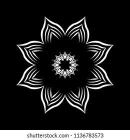 Isolated Mandala vector illustration. Design lotus white on black background. Design print for wallpaper, texture, symbol, brooch, embroidery. Set 22