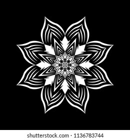 Isolated Mandala vector illustration. Design lotus white on black background. Design print for wallpaper, texture, symbol, brooch, embroidery. Set 23