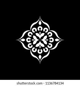 Isolated Mandala vector illustration. Design lotus white on black background. Design print for wallpaper, texture, symbol, brooch, embroidery. Set 24