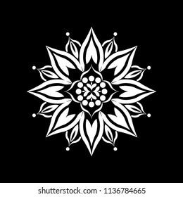 Isolated Mandala vector illustration. Design lotus white on black background. Design print for wallpaper, texture, symbol, brooch, embroidery. Set 25