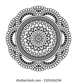 2a840869c Isolated mandala in vector. Round pattern in white and black colors.  Vintage decorative element