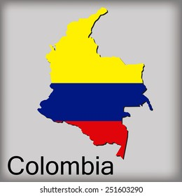an isolated map of colombia with its flag and text