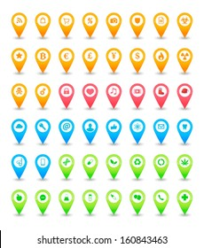 An isolated map icon pointer set
