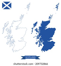 isolated maps of scotland, outline and silhouette