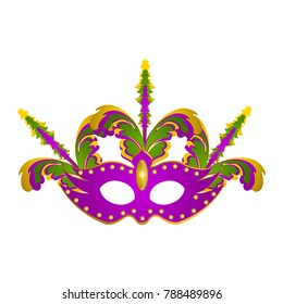 Isolated mardi gras mask with feathers on a white background, vector illustration