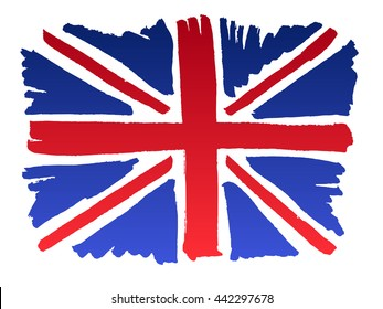 Isolated marker hand-drawn Brittish flag. Vector illustration of Union Jack - emblem of United Kingdom of Great Britain. England, Scotland, Wales and Northern Ireland national symbol.