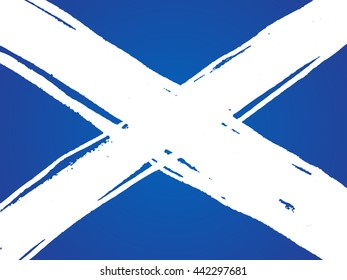 Isolated marker hand-drawn scottish flag. Vector illustration of St Andrew's Cross - emblem of  Scotland. The Saltire national symbol.