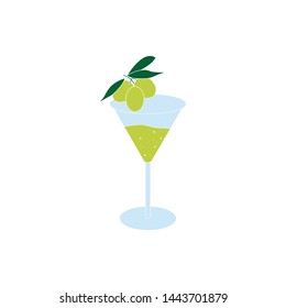 Isolated Martini glass with olive icon for national martini day poster. Vector illustration icon. Alcoholic beverages