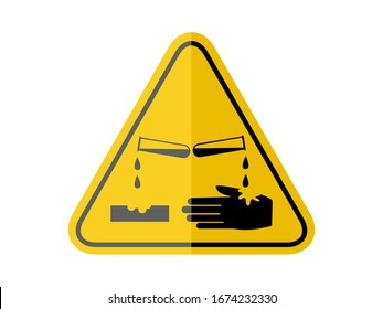 isolated materials causing skin corrosion burns , common hazards symbols on yellow round triangle board warning sign for icon, label, logo or package industry etc. flat paperwork style vector design.