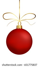 isolated matt christmas ball, red sphere on string with bow