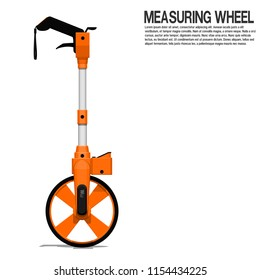 Isolated measuring wheel on transparent background