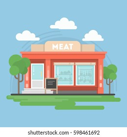 Isolated meat shop. Isolated urban building with sign and storefront. City landscape with clouds and trees.