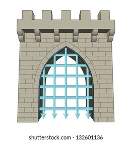 isolated medieval closed gate vector illustration