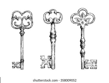 Isolated medieval forged keys with bows, decorated by Victorian lily elements and ornate by flourishes. Sketch style objects