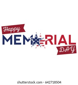 Isolated memorial day label on a white background, Vector illustration