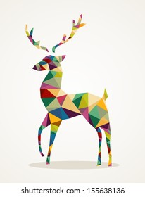 Isolated Merry Christmas colorful abstract reindeer with geometric composition. EPS10 vector file organized in layers for easy editing.