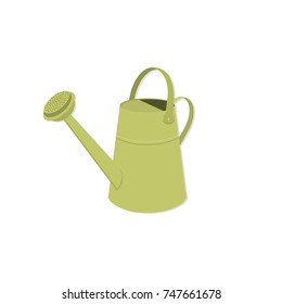 Isolated metal watering can illustration