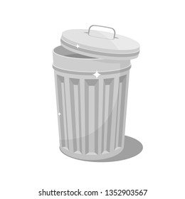 Isolated metallic trash can vector design isolated on white background