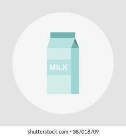 The isolated milk box. The packed fermented milk product on a white background. Vector illustration.