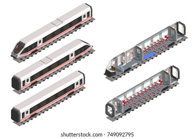 Isolated modern fast train. Wagon cross-section interior. Scheme of passenger seats.